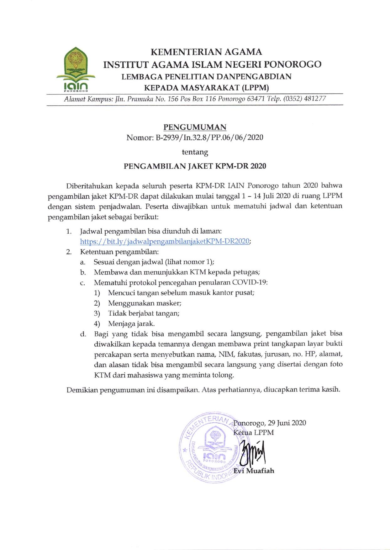 Pengumuman Pengambilan Jaket KPM-DR 2020